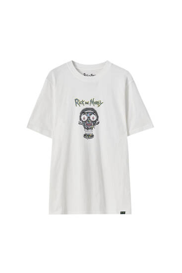 Rick and Morty contrast face T-shirt