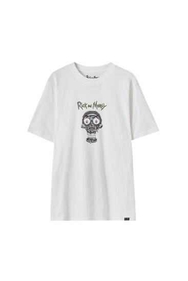 T-shirt med Rick and Morty-ansikten i kontrast