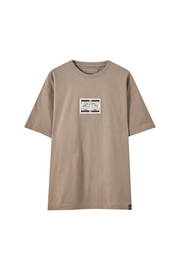 Brown T-shirt with contrast patch