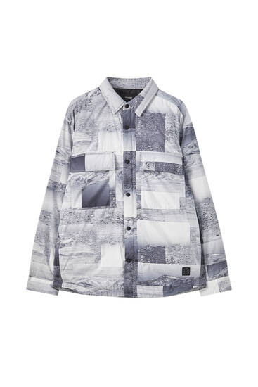 Printed padded overshirt