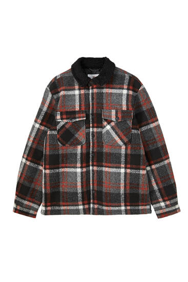 Printed overshirt with faux shearling collar
