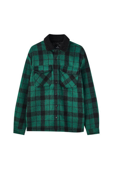 Green check overshirt with faux shearling collar