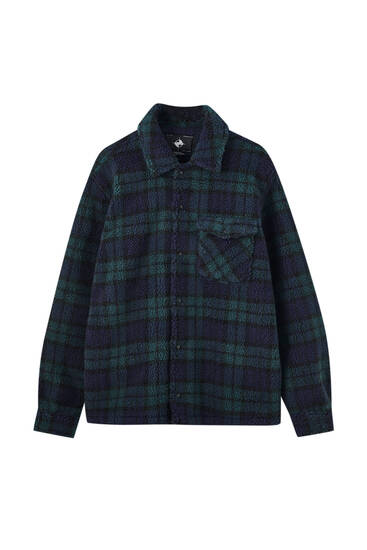 Faux shearling green check overshirt