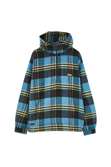 Hooded overshirt with a check print