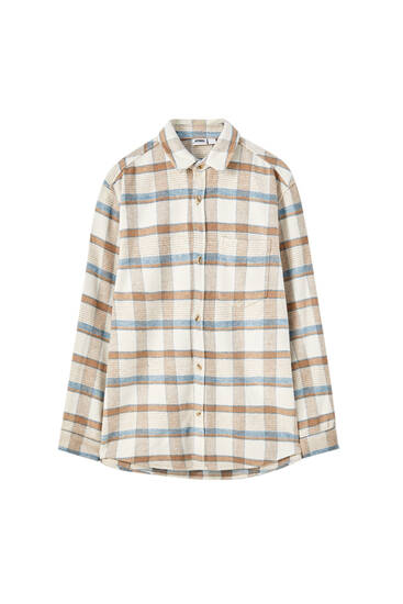 Blue and beige check overshirt