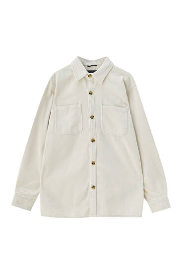 Solid-colored corduroy overshirt