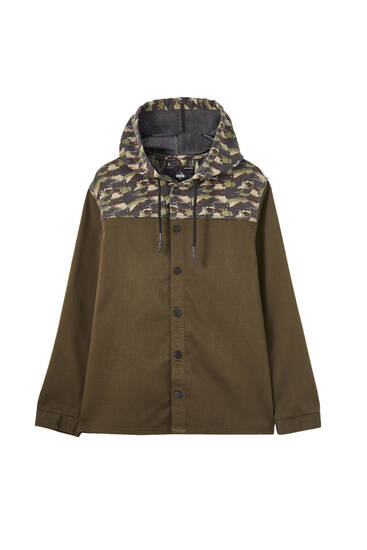 Contrast overshirt with hood