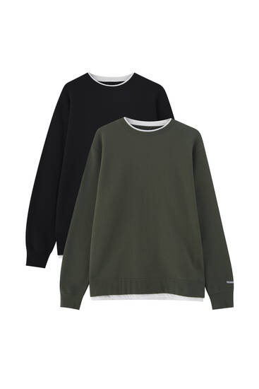 Pack of 2 basic round neck sweatshirts