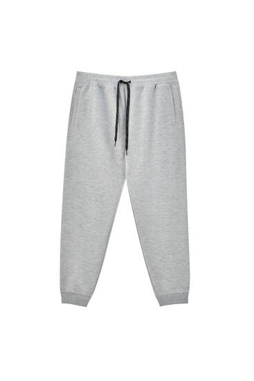 Grey joggers with contrast drawstring