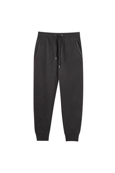 Garment-dyed piqué jogging trousers