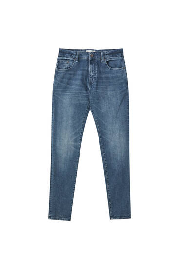 Blaugrüne Skinny-Fit-Jeans im Washed-Look
