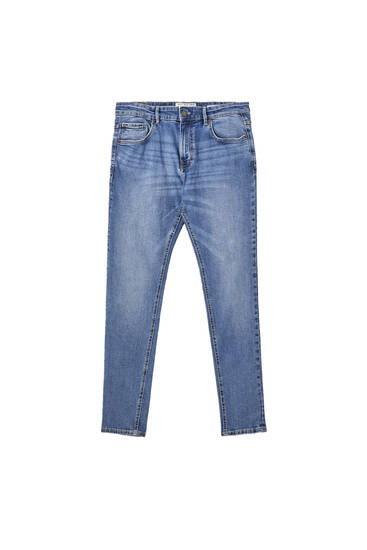 Faded medium blue super skinny fit jeans