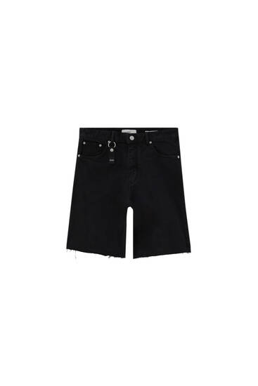 Denim Bermuda shorts with keyring - ecologically grown cotton (at least 95%)