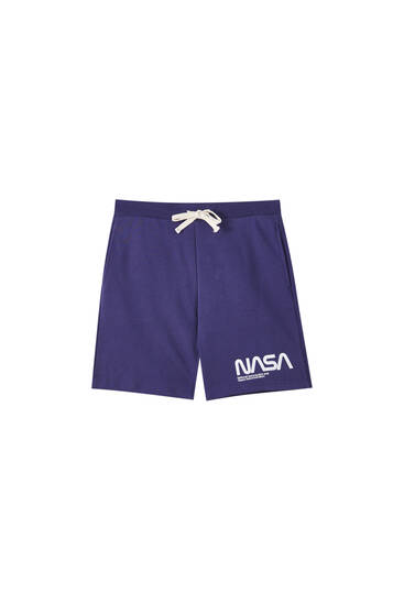 Basic jogging Bermuda shorts with NASA logo
