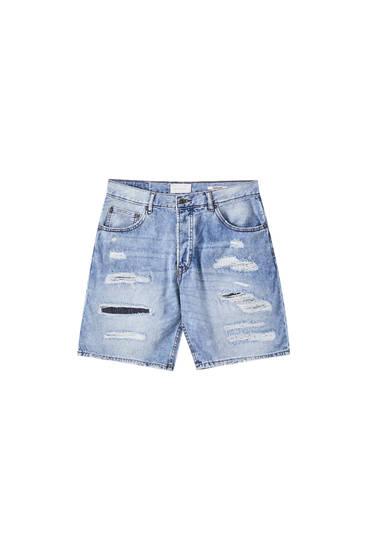 Ripped regular fit Bermuda shorts