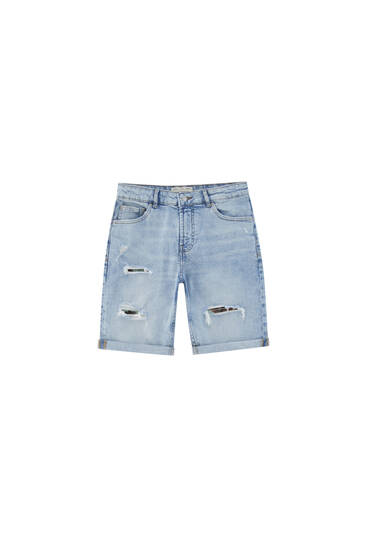 Regular fit bermudashort met scheuren