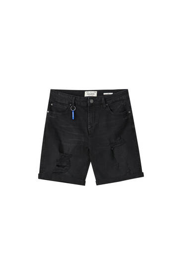 Ripped slim fit denim Bermuda shorts