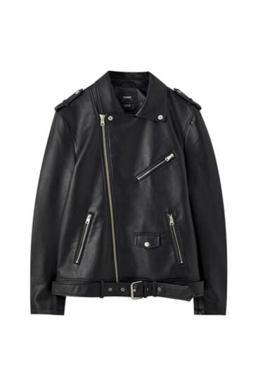 Oversize faux leather biker jacket
