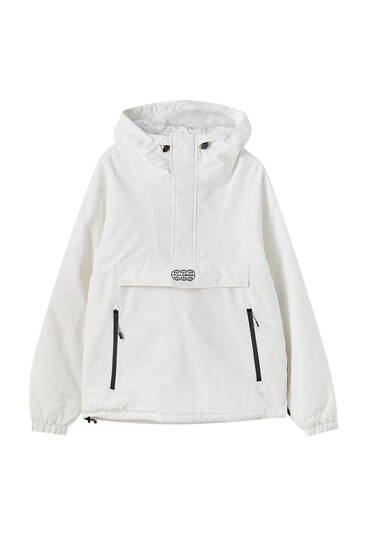 Zipped Anorak Jacket With Logo Pull Bear