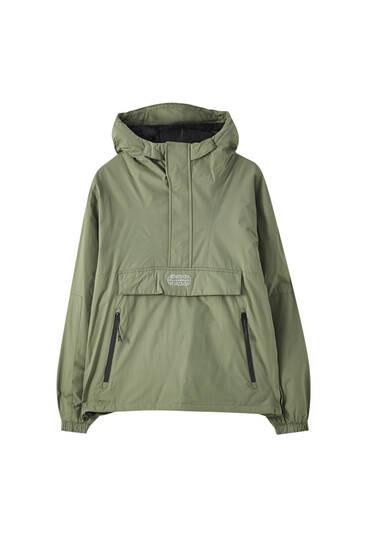 Τζάκετ hoodie με λογότυπο και φερμουάρ