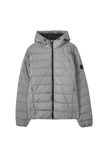 Reflective grey puffer jacket