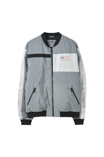 Paneled NASA bomber jacket