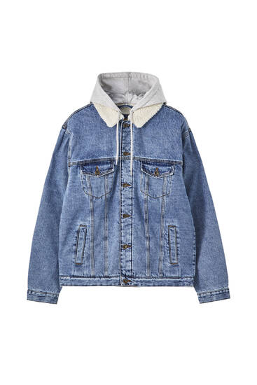 Oversize denim jacket with contrast details