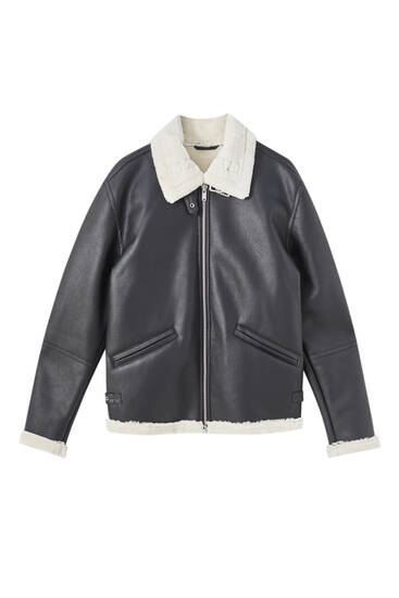 Faux leather jacket with faux shearling