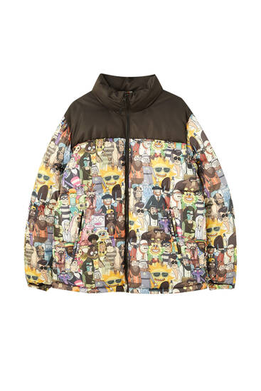 Rick & Morty print puffer jacket