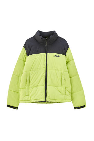 Lime green colour block puffer jacket