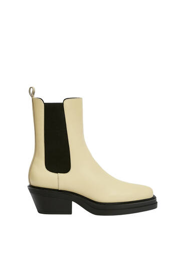 Bottines cuir bout carré