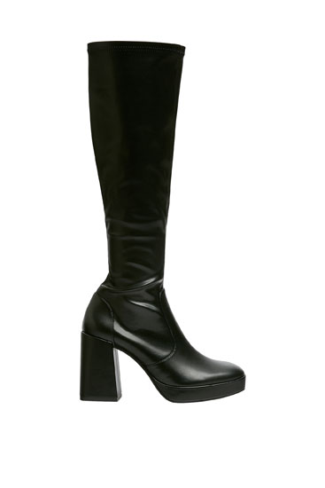 Stretchy knee-high boots