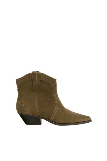 Split suede high-heel cowboy ankle boots