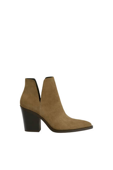 Split suede cut-out ankle boots