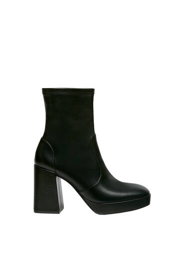 Long high heel stretch ankle boots