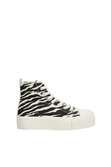 Animal print high-top trainers