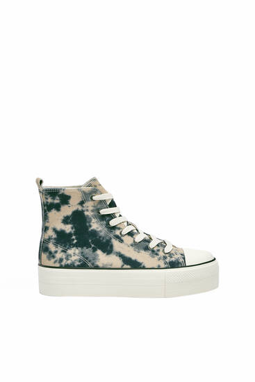 Tie-dye high-top trainers