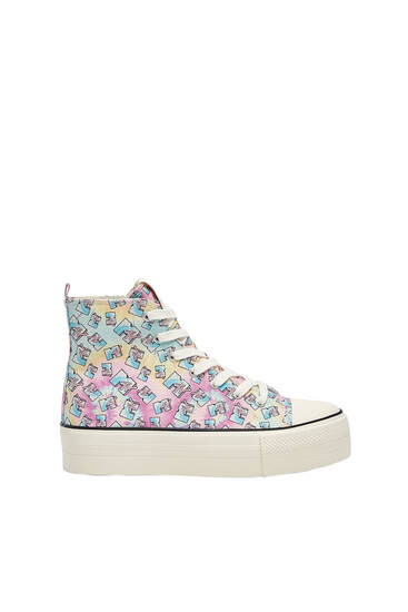 Tie-dye MTV high-top trainers