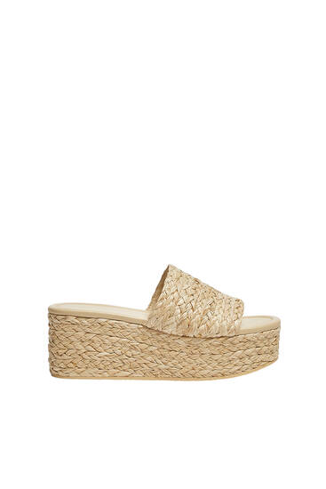 Plaited wedge sandals