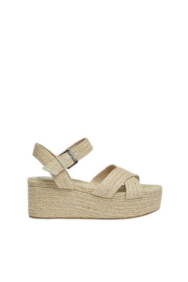 Crossover strap jute wedges