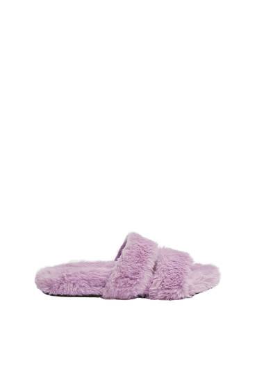 Faux fur flat sandals