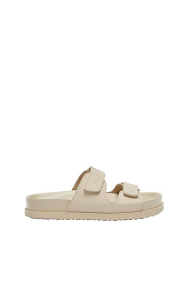 Flat hook-and-loop strap sandals