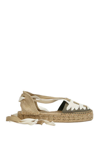 Jute espadrilles with tie detail