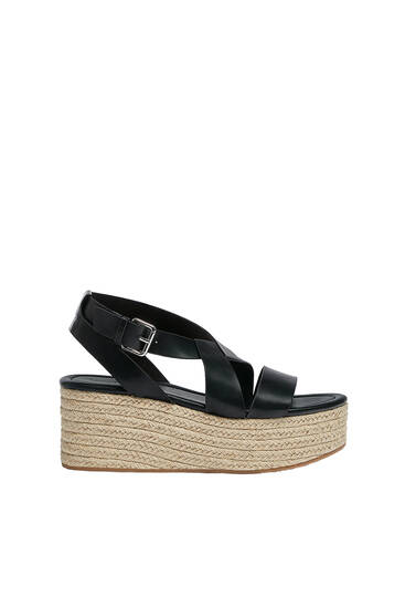 Strappy jute wedges