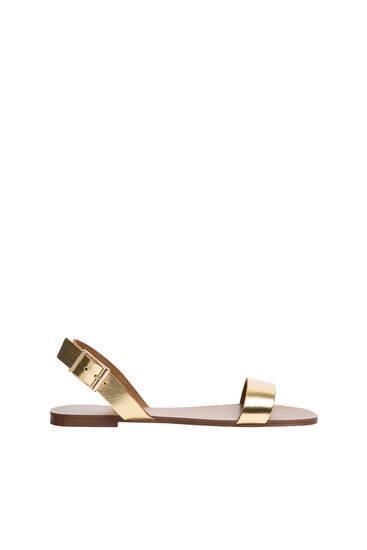 Ravne kožne sandale sa otvorenom petom