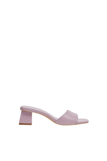 Heeled mules with square toe