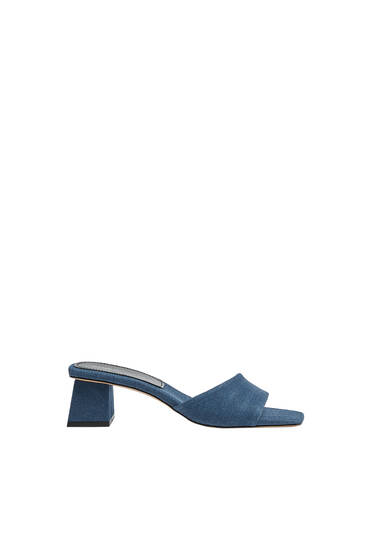 Heeled denim mules