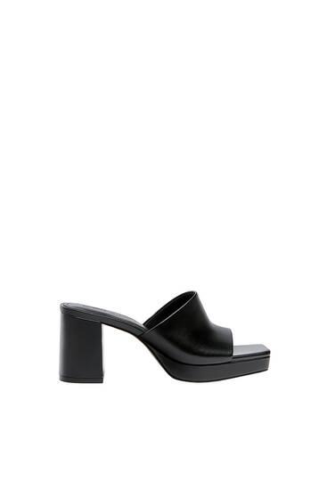 Heeled mule sandals