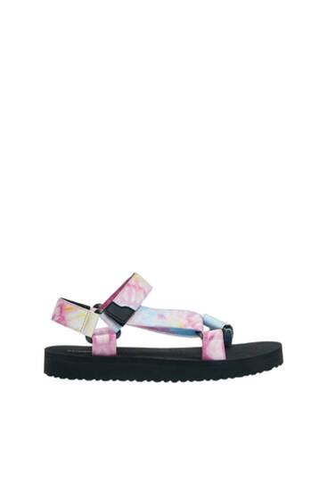 Flat strappy tie-dye sandals