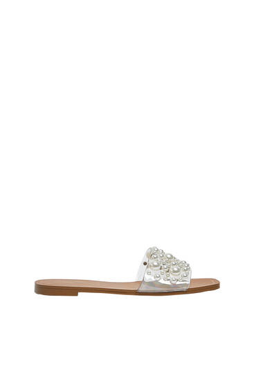 Sandals with vinyl and faux pearl details